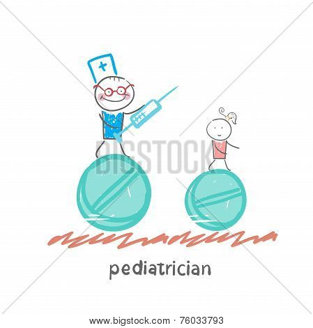 pediatrician pediatrician runs with a syringe