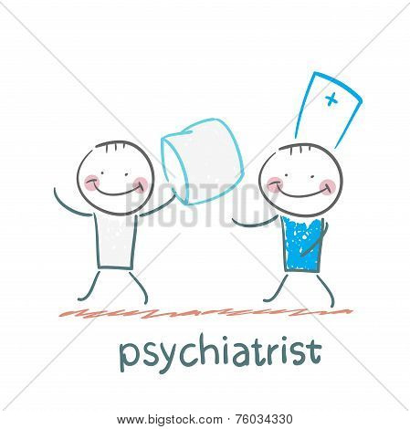 Psychiatrist catches patient with a pillow