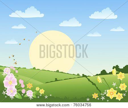 Springtime landscape with flowers