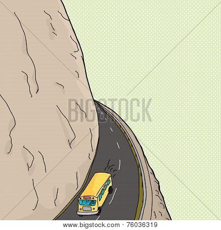 Bus On Mountain Pass