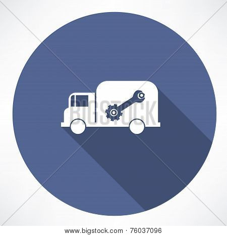 truck with wrench and nut icon