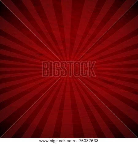 Retro Red Sunburst Poster With Gradient Mesh, Vector Illustration