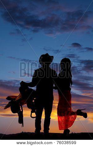 Couple Silhouette Western Saddle