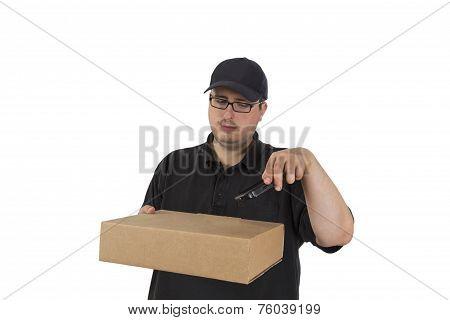 Delivery Driver Scanning Parcel