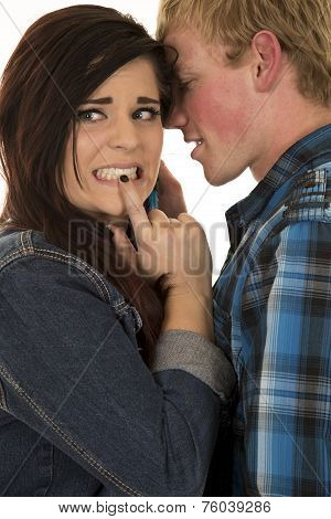 Man Tell Woman In Denim A Secret Teeth Toghether