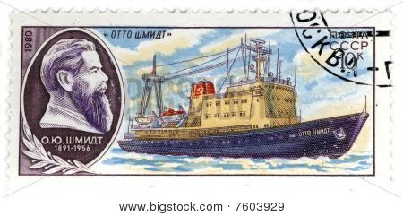 Ussr - Circa 1980: A Stamp Printed In Ussr Shows Image Of The Ship