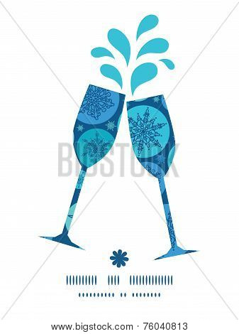 Vector round snowflakes toasting wine glasses silhouettes pattern frame