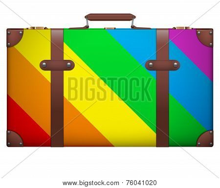 Classic vintage luggage suitcase for travel in rainbow color.