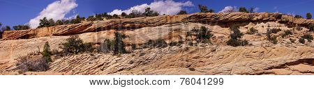 Panorama, Tilted Layers Of Sandstone Cliffs