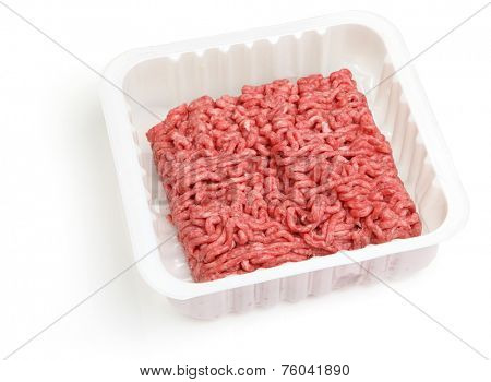Fresh ground beef or mince in white plastic packaging.