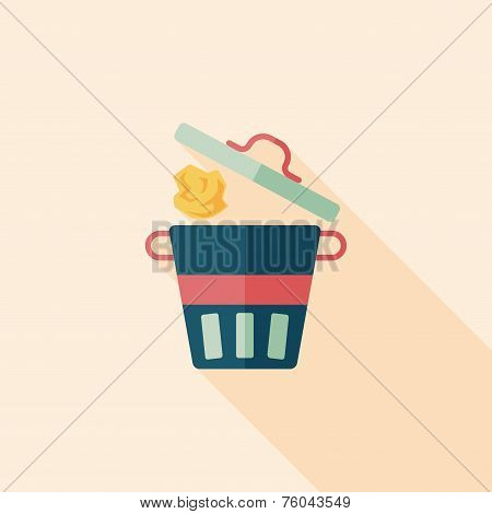 Kitchenware Garbage Can Flat Icon With Long Shadow,eps10
