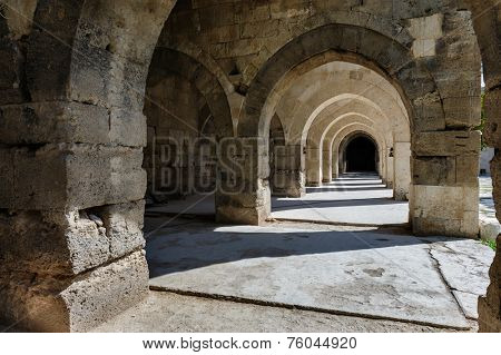 arches and columns in Sultanhani caravansary on Silk Road, Turkey
