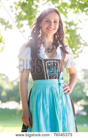 Bavarian woman wearing traditional Dirndl