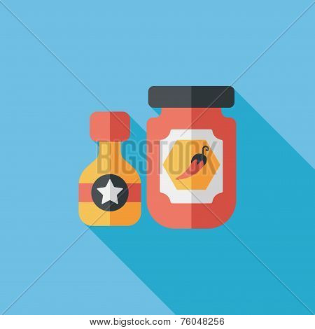Kitchenware Hot Sauce Flat Icon With Long Shadow,eps10