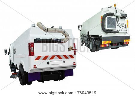 Street cleaning machine isolated under a white background