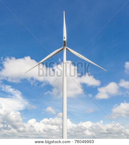 The Wind Turbine Standalone With Cloudy Blue Sky Background In The Wind Farm Thailand.