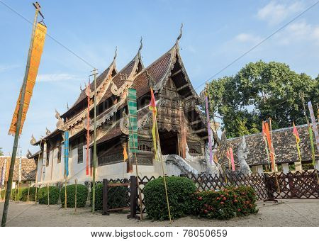 Beautiful Thai Lanna Wooden Temple In Chiang Mai, Thailand