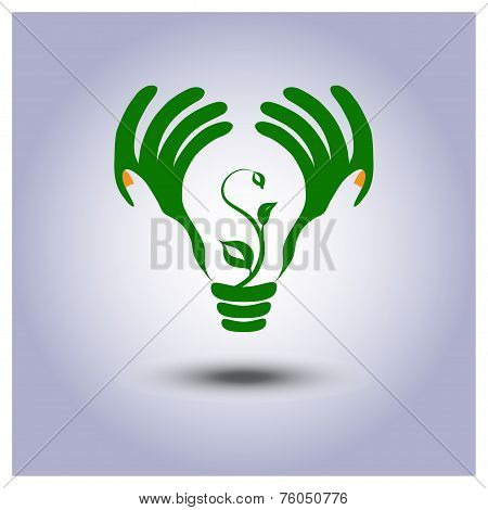 Green Ecology Light Bulb Icon In Hands