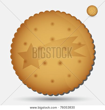 Christmas Brown Biscuit With Comet Symbol Eps10
