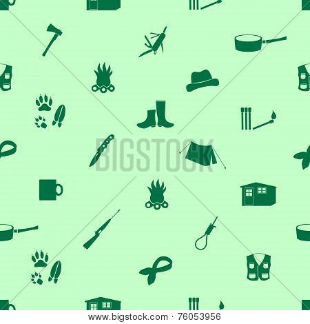 Black Backwoodsman Icons Seamless Green Pattern Eps10