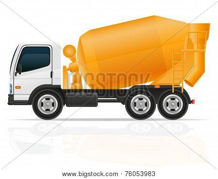 Truck Concrete Mixer For Construction Vector Illustration