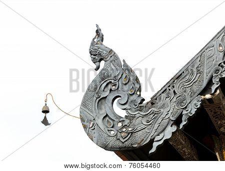 Wood Carving Of Thai Naga Lanna Gable Apex