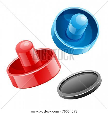 Mallets and puck for playing air hockey game. Eps10 vector illustration. Isolated on white background