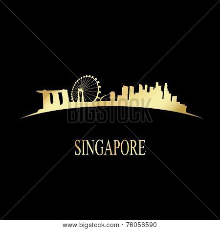 Luxury Golden Singapore Skyline
