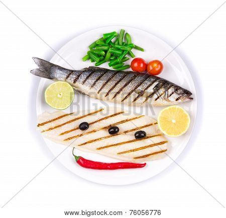 Different fish. Pangasius and sea bass.