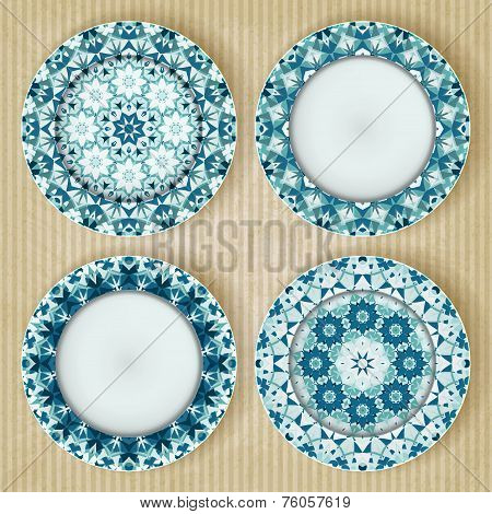 Plates with kaleidoscope pattern set
