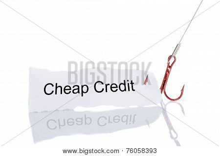 Cheap Credit Paper Trapped In Fishhook