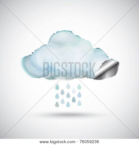 Watercolour cloud with a silver lining.and raindrops. EPS10 vector format.