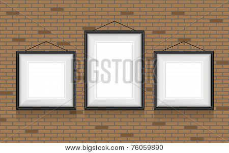 Collage of picture frames on the brick wall. Vector set.