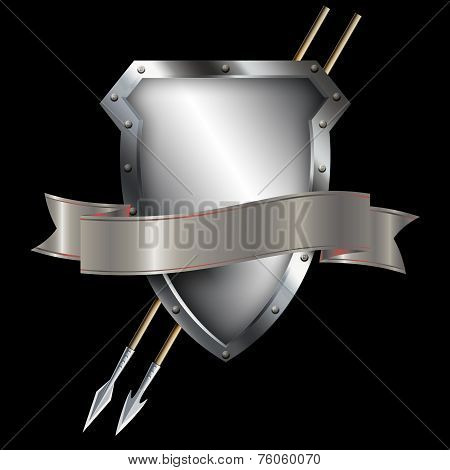 Silver Shield With Two Spears And Silver Ribbon.