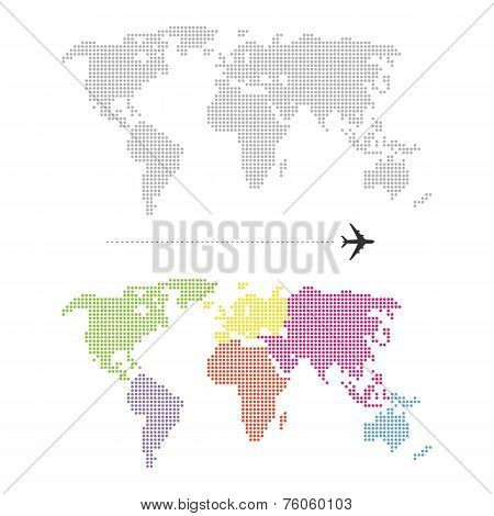 Color Dotted World Map