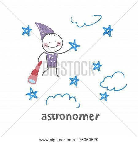 astronomer flies in the stars