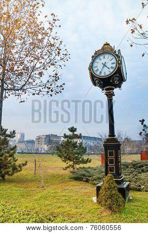 Beautiful clock in Parcul Unirii park, Bucharest