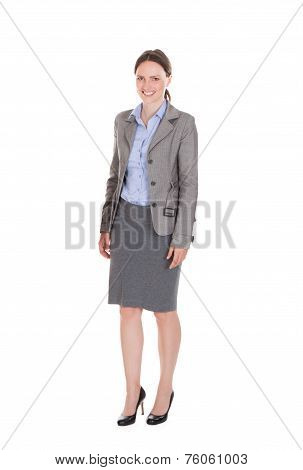 Full Length Portrait Of Happy Businesswoman