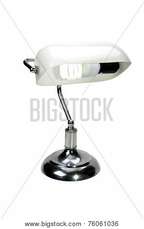 Chrome Bankers Lamp With White Glass Lampshade