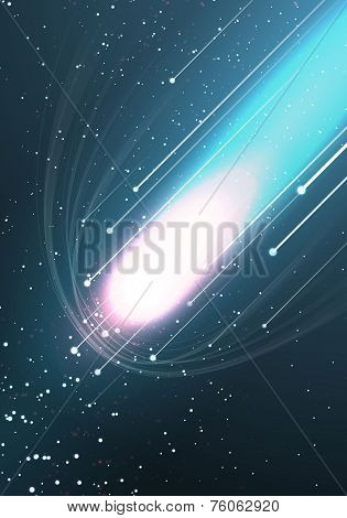 Abstract bright background with flying comet