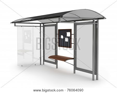 Bus stop with blank banners isolated on white background. 3D render.