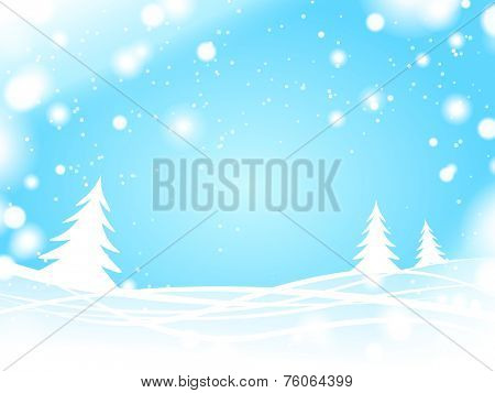light blue winter forest background
