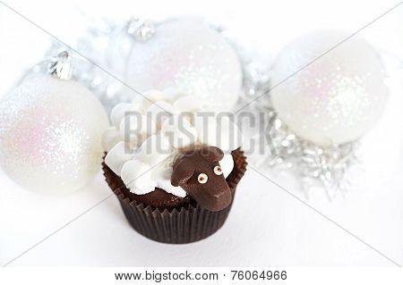 Christmas Balls And Cake With Marshmallow