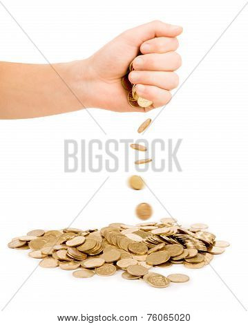 Falling Coins Out Of Hand Isolated On White Background
