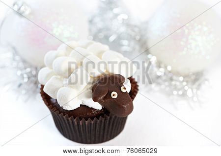 Cake And Christmas Balls With Marshmallow