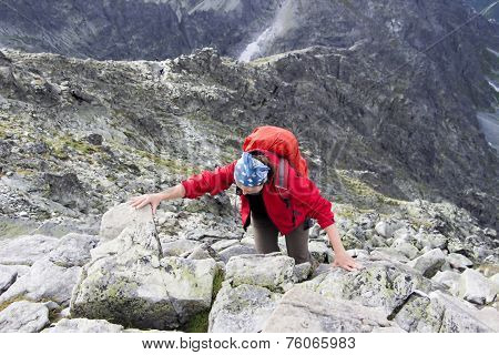 Girl On The Top Of Mountain