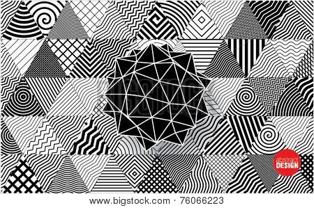 polyhedron on decorative triangles background