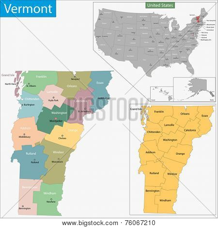 Map of Vermont state designed in illustration with the counties and the county seats