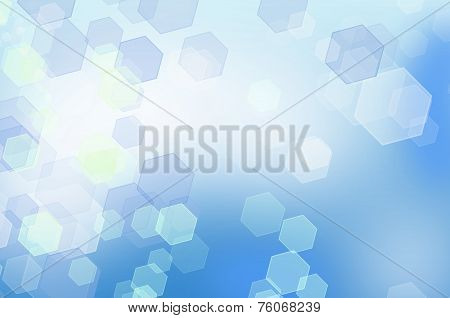 Abstract Blue Honeycomb Background With Bokeh Effect.