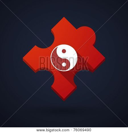 Puzzle Piece Icon With A Ying Yang Sign